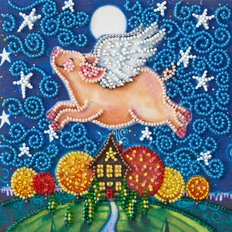 фото: картина для вышивки бисером, свинка, свинья, год свиньи, летающая свинка