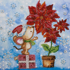 фото: картина, вышитая бисером на холсте, Зимнее чудо