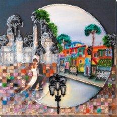 фото: картина для вышивки бисером городской пейзаж, танцующая пара