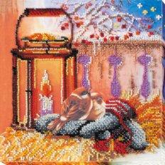 фото: картина для вышивки бисером фонарик и пара птиц
