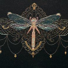 фото: картина для вышивки крестом, Золотая стрекоза
