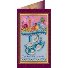 Набор для вышивки бисером открытка С рождением сыночка-1