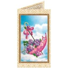 Набор для вышивки бисером открытка Цветы в зонтике