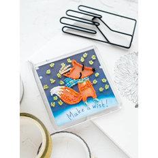 фото: магнит для вышивки бисером с акриловой рамкой Лисёнок