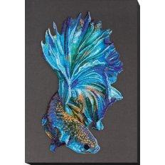 фото: картина, вышитая бисером, Синее золото