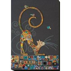 фото: картина, вышитая бисером, Кошечка