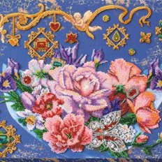 фото: картина, вышитая бисером, Волшебные цветы