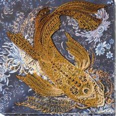 фото: картина, вышитая бисером, Денежная рыбка
