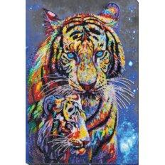 фото: картина, вышитая бисером, Тигры цветные