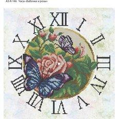 фото: часы, вышитые бисером, Часы. Бабочки и розы