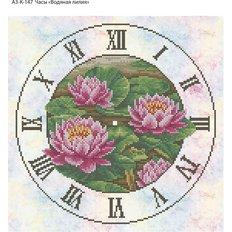 фото: часы, вышитые бисером, Часы Водяная лилия