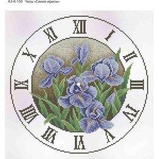 фото: часы, вышитые бисером, Часы Синие ирисы