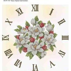 фото: часы, вышитые бисером, Часы Букет магнолии