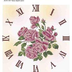 фото: часы, вышитые бисером, Часы Букет роз
