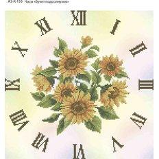 фото: часы, вышитые бисером, Часы Букет подсолнухов
