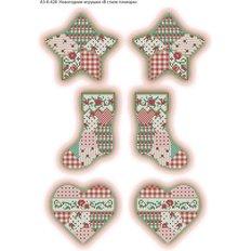 фото: схема для вышивки бисером Новогодние игрушки В стиле пэчворк