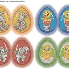 фото: картина, вышитая бисером, Пасхальные яйца Кролики и цыплята