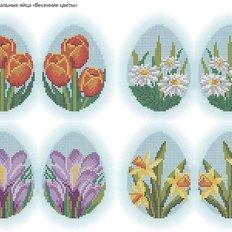 фото: картина, вышитая бисером, Пасхальные яйца Весенние цветы