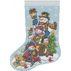 фото: схема для вышивки бисером Рождественский носок Друзья снеговики
