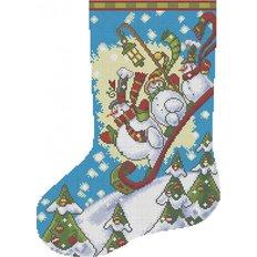 фото: схема для вышивки бисером Рождественский носок Снеговики на санках