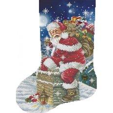 фото: схема для вышивки бисером Рождественский носок Санта с подарками
