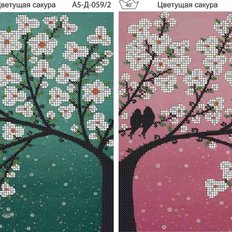 фото: картина, вышитая бисером, Полиптих Цветущая сакура