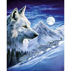 Набор в технике алмазная вышивка Волки в полнолуние