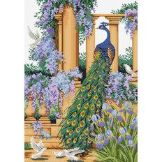 фото: картина в алмазной технике, Павлин в саду