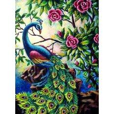 фото: картина в алмазной технике, Павлин в цветах