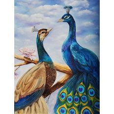 фото: картина в алмазной технике, Влюблённые павлины