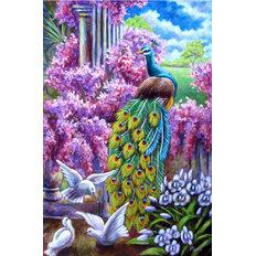 фото: картина в алмазной технике, Павлин и голуби