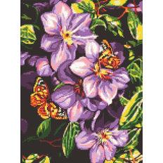 фото: картина в алмазной технике Бабочки в цветах