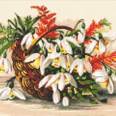 фото: картина в алмазной технике Цветы в лукошке