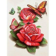 фото: картина в алмазной технике Бабочки на розах