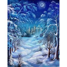 фото: картина в алмазной технике Зимняя ночь