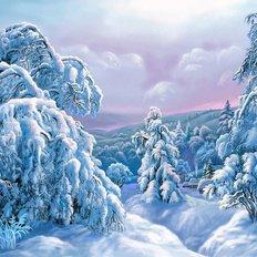 фото: картина в алмазной технике Снежный лес