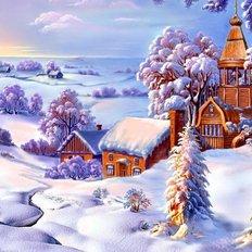 фото: картина в алмазной технике Зимний пейзаж