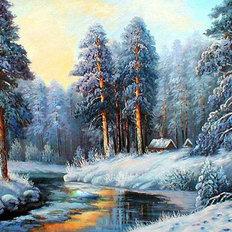фото: картина в алмазной технике Волшебная зима