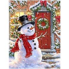 фото: картина в алмазной технике Весёлый снеговик