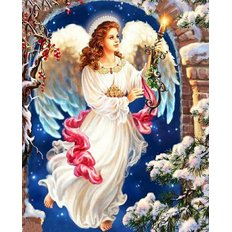 фото: картина в алмазной технике Рождественский ангел