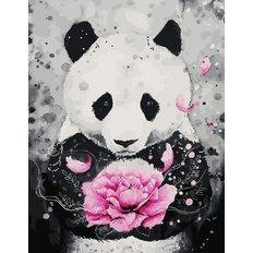 фото: картина в алмазной технике Панда с цветком
