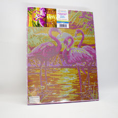 фото: картина в алмазной технике на подрамнике Розовые фламинго