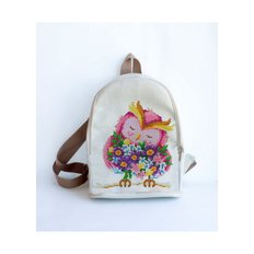 фото: сшитый рюкзак для вышивки бисером или нитками Сова с незабудками