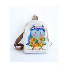 фото: сшитый рюкзак для вышивки бисером или нитками Сова с подсолнухи