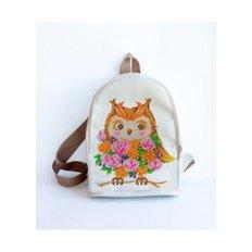 фото: сшитый рюкзак для вышивки бисером или нитками Сова с розами