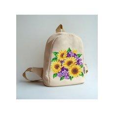 фото: сшитый рюкзак для вышивки бисером или нитками Подсолнухи и фиалки
