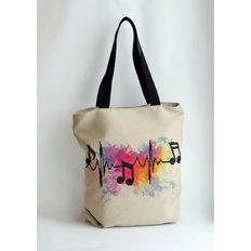 фото: сшитая сумка для вышивки бисером или нитками Ноты