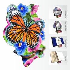 Набор в технике алмазная вышивка Подставка под телефон Бабочка и Анютины глазки