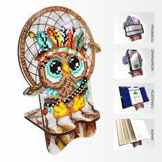 Набор в технике алмазная вышивка Подставка под телефон Совушка. Ловец снов