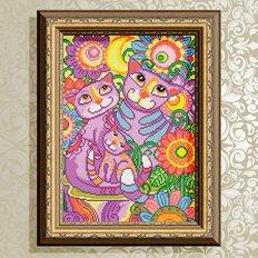 фото: картина в алмазной технике, Коты неразлучники